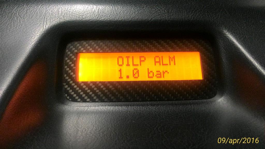 Impostazione soglia di allarme pressione olio motore.