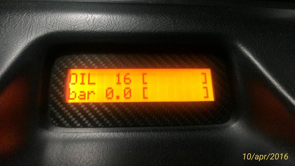 """Visualizzazione """"grafica"""" temperatura e pressione dell'olio."""